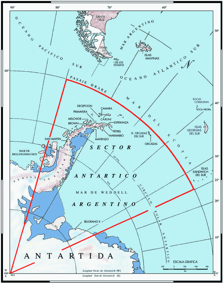 Argentine Antarctic Stations.  Map is in Spanish.  It includes the Islas Malvinas, the Sandwich Islands, Tierra Del Fuego, Mar Argentino, and the Drake Passage (Pasaje Drake).