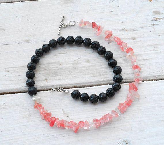 Black Lava Rock Watermelon Rose Quartz Necklace by SunSanJewelry,