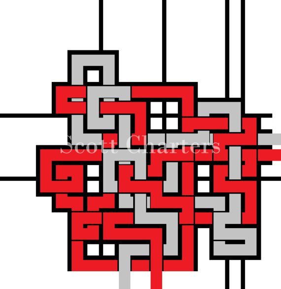 Downloadable Maze Art Print Red N Grey Lines by ScottLCharters