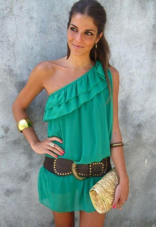 Love the one Shoulder: Summer Dresses, Fashion, Style, One Shoulder Dresses, Colors, Summer Outfits, The Dresses, Belts, Green Dresses