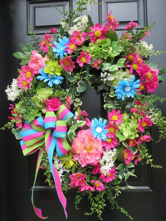 Summer Door Wreath Front Door Wreath Spring by hollyhillwreaths