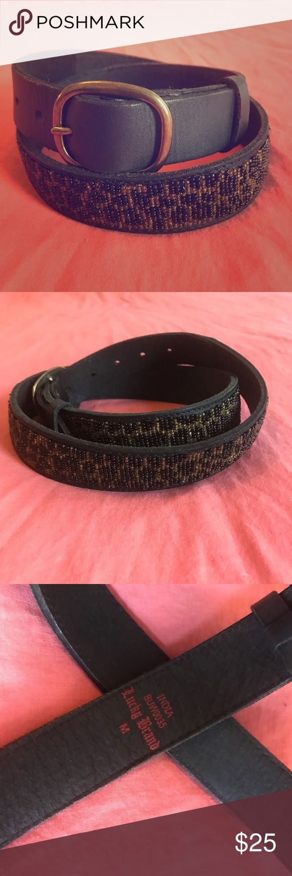 Lucky Brand Leopard Beaded black leather belt Beaded Lucky Brand Belt, Leopard print on black leather Lucky Brand Accessories Belts