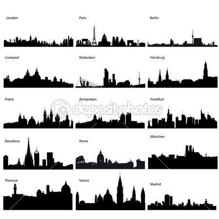 detaillierte Silhouetten der Europäischen Städte