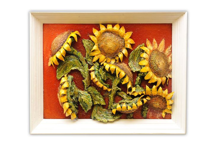 High quality photo of the finished version of the sunflower painting. Front view.
