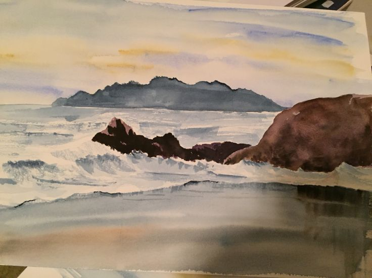 Min första målning av hav akvarell