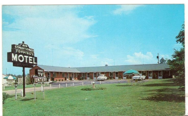 Unposted Unused Postcard Toppings Motel Bowling Green Virginia VA Great Sign