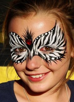 Christina Davison Zebra Mask with Heart Gem Face Painting by paula.d.lovejoy