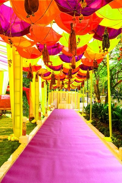Design & Decor by Dinaz , Wedding Decor , Decor , Entrance , Umbrellas , Rajasthani , Puppets , Colourful , Orange , Yellow , Purple , Playful , Mehendi , Sangeet , Garba , Wedding Ceremony