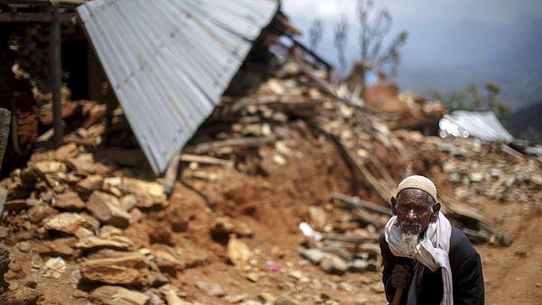 Obec Alang v okrese Gurkha, místo poblíž epicentra zemětřesení.