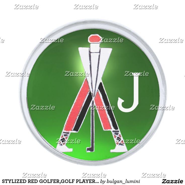 STYLIZED RED GOLFER,GOLF PLAYER GREEN GEM MONOGRAM SILVER FINISH LAPEL PIN #golf #golfplayer #golfer #sport #fashion #sports #golfers