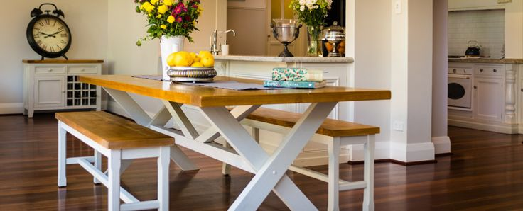 Stafford X leg dining table This delightful range is classic French country house or shabby chic Australian, call it what you will! Crafted from recycled pine with natural timber wax finish top and white wash style painted base, it oozes old-world charm.