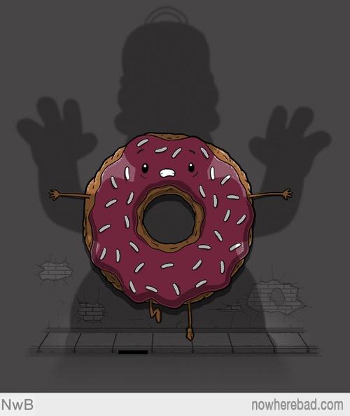 http://www.nowherebad.com/ #simpsons #donut #fan art #tee #shirt #tshirt