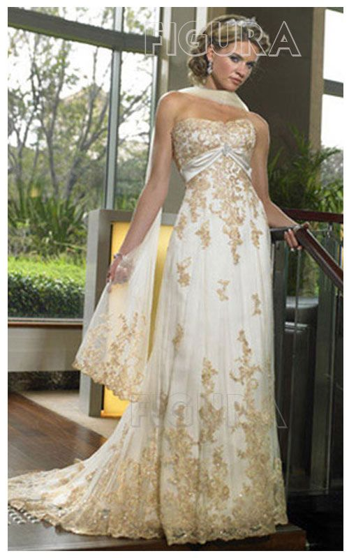 Beautiful White Gown Embroidered And Embellished With Golden Zari