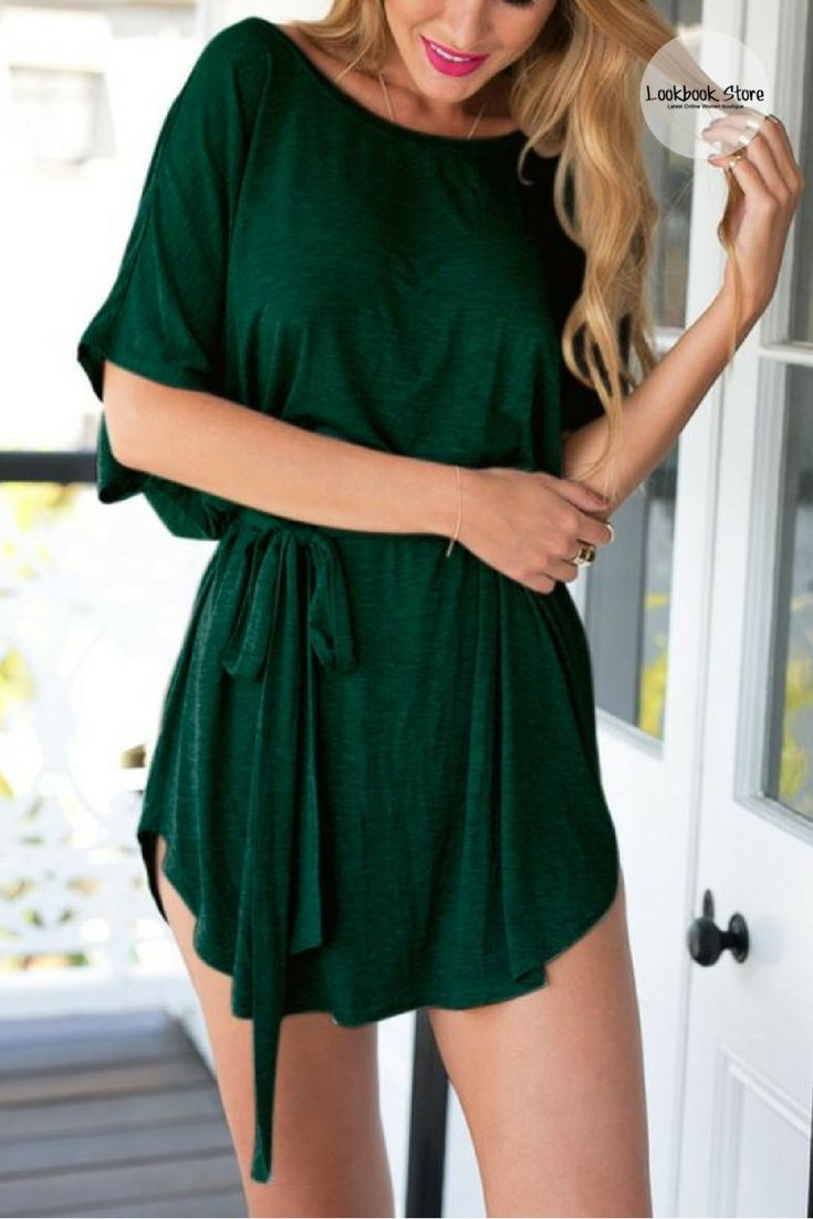 Most Wanted // Creating an effortless casual style is easy with this green t-shirt dress.