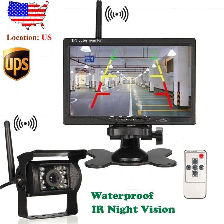 Wireless 7'' Car Rear View Monitor+Backup Camera 2xAntenna For Truck Bus Trailer #Efeel