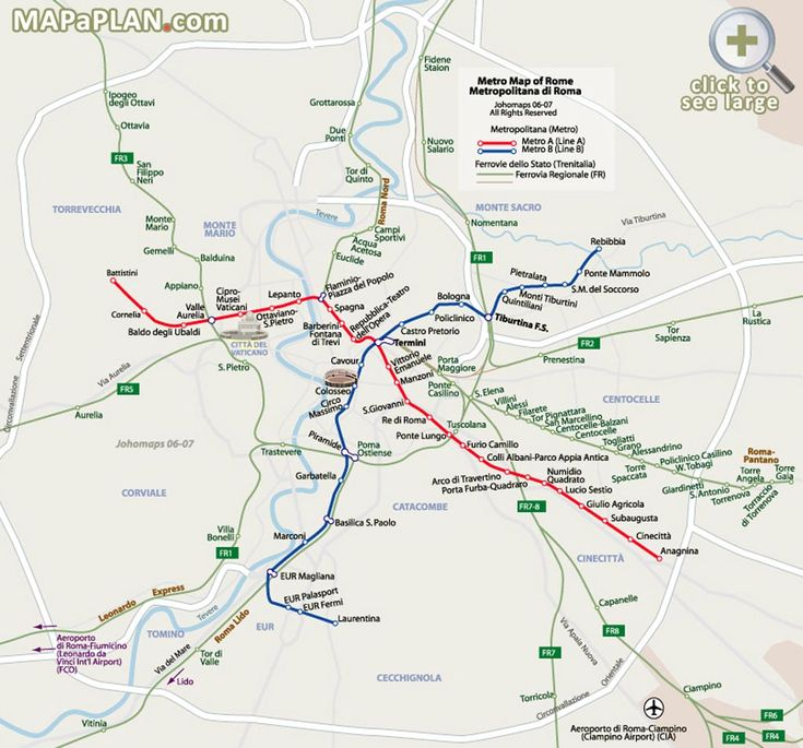 Metro Subway map with attractions overlay Rome top tourist attractions map