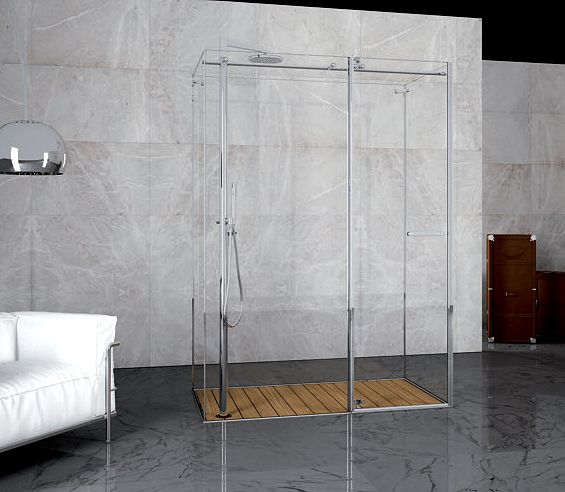 Shower tray built into the floor, teak wood staves and stunning shower panels.
