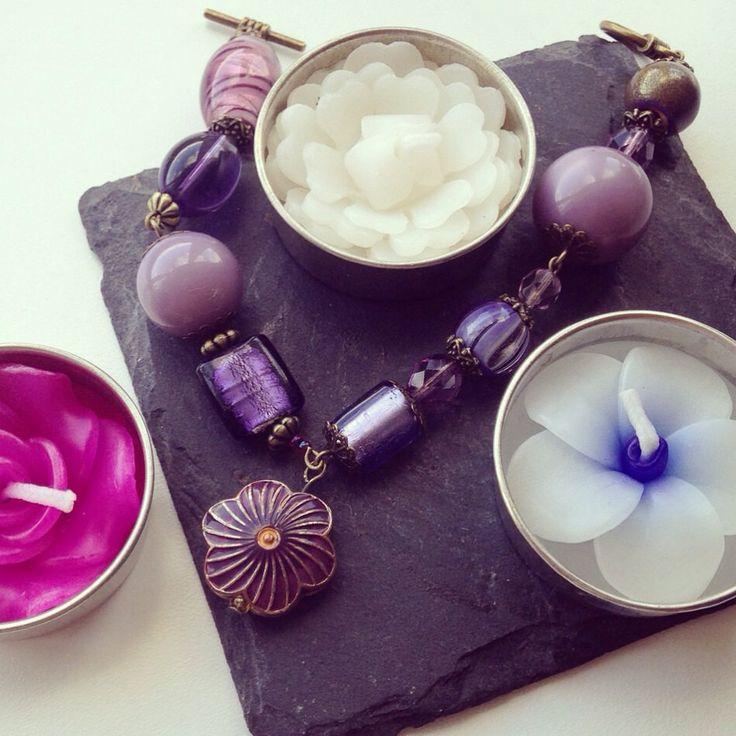Purple Rain Pendant Bracelet by AvasAccessories1 on Etsy