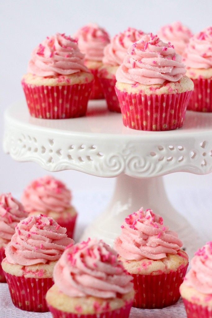 Pink Confetti Cupcakes with Strawberry Buttercream Icing Great Valentines day idea