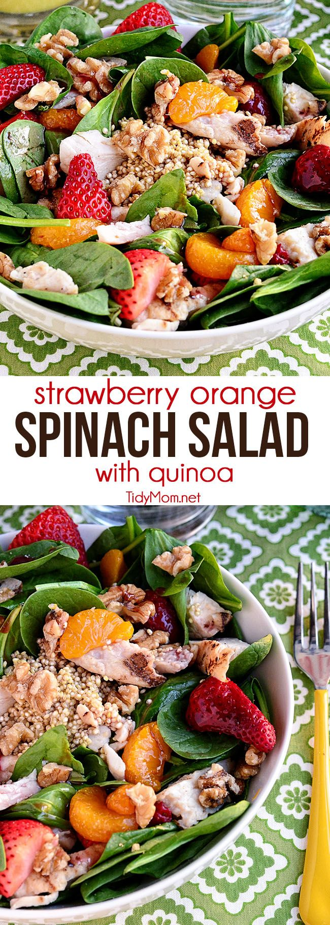 A hearty spring salad full of protein with warmed quinoa. Strawberry Orange Spinach Salad with Quinoa is perfect for lunch or dinner on warm spring days. Print full recipe at TidyMom.net