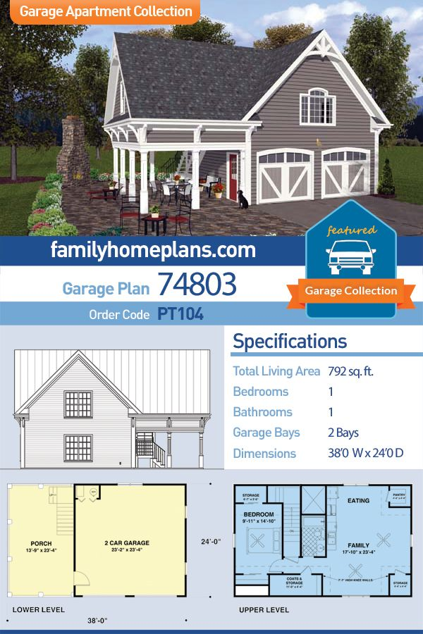 Traditional Style 2 Car Garage Apartment Plan Number 74803 With 1 Bed 1 Bath Carriage House Plans Garage Apartment Plan Carriage House Plans Garage Apartments