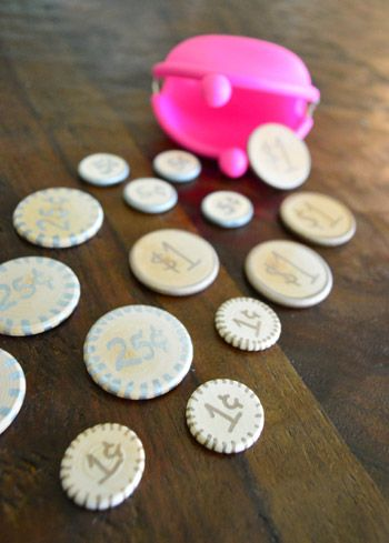 This is on my list of things to make for grandkids:  play money. What a fun idea! Audrey will love helping me make these.