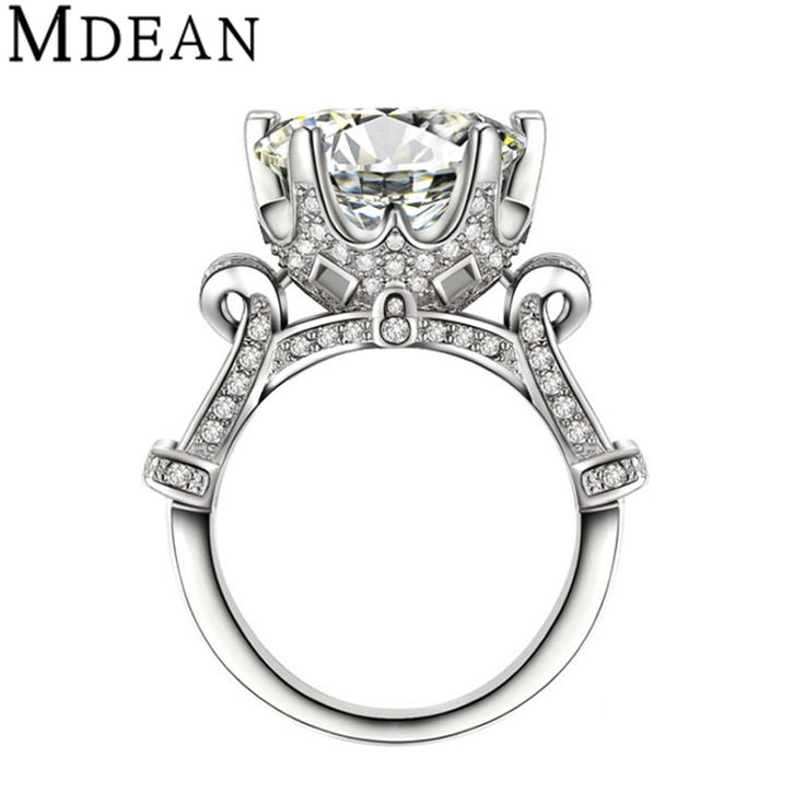 MDEAN Wedding Rings for Women White Gold Plated women rings Engagement wedding CZ diamond Jewelry Bijoux ring Accesories MSR289