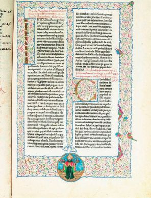 Conrad Sweynheym and Arnold Pannartz, page from Augustine of Hippo's City of God, 1467. This is the first printed volume of St. Augustine's City of God and one of four books printed by Sweynheym and Pannartz at the Benedictine monastery at Subiaco. This initial page is elegantly decorated with gold leaf and colors, illuminated initials, and a portrait of St. Augustine. The text is in the second typeface designed and cast by Sweynheym and Pannartz.