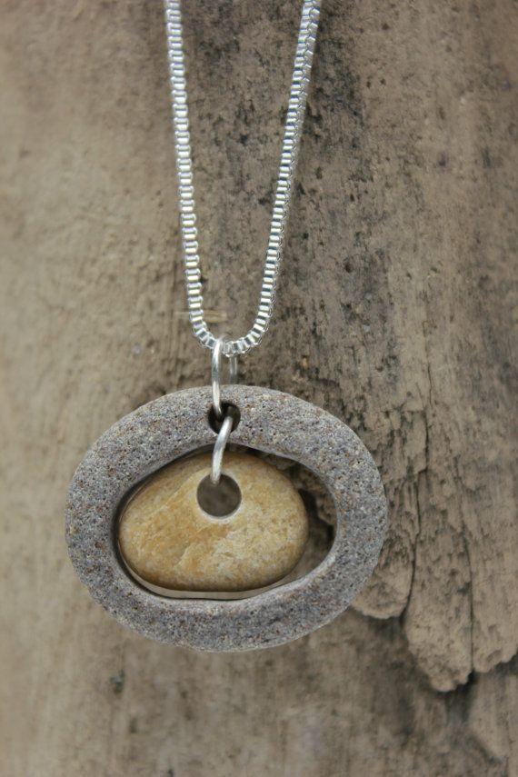 Playa piedra collar y pendiente conjunto plata por fortunesfind