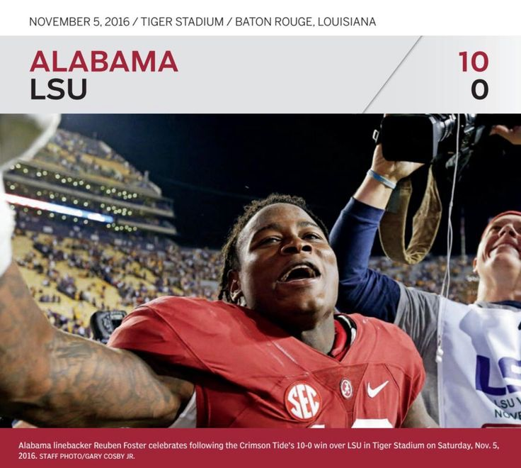 "Reuben Foster celebrates the victory! Alabama 10 LSU 0 - ""Recapping the 2016 Season"" from the Tuscaloosa Magazine Special 2017 Issue by Tuscaloosa News 