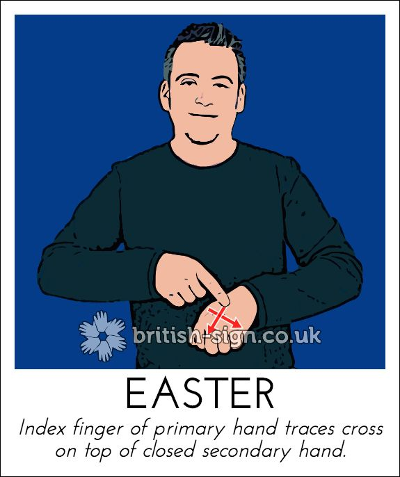 With 1 week to go our sign today is: EASTER - learn more at www.british-sign.co.uk #BSL #BritishSignLanguage #Easter