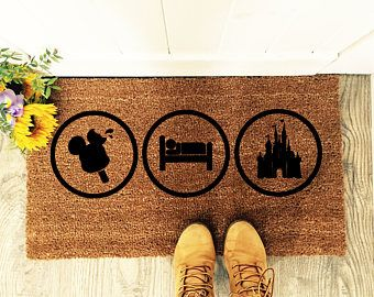Do you Eat Sleep & Breathe Disney? You'll love this quirky mat.  Let everyone know they are entering a Disney household with this beautiful hand painted entrance mat!  Tangled Designs Co mats are painted with durable outdoor paint for a lasting finishing.   Get yours - https://www.etsy.com/uk/listing/593690145/eat-sleep-disney-doormat-disney-home?ref=shop_home_feat_4