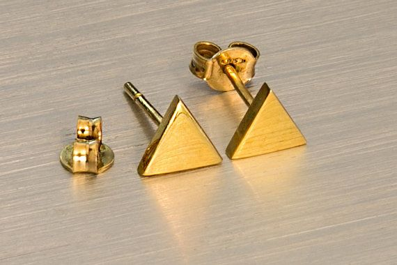 Triangle earrings Gold triangle 925 sterling silver Geometric studs