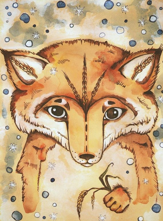 Author's drawing. Thoughtful little Fox. Print on от LullabyForFox