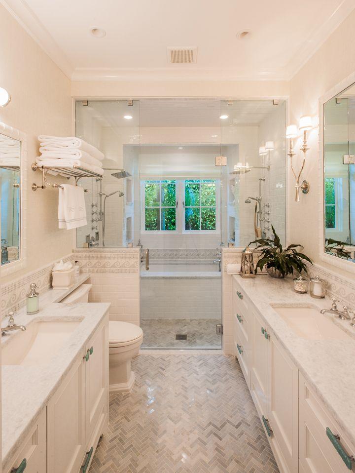coastal bathroom with walk-in shower