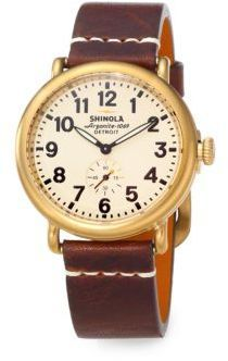 $600, Brown Leather Watch: Shinola Runwell Goldtone Pvd Stainless Steel Leather Strap Watch. Sold by Saks Fifth Avenue. Click for more info: https://lookastic.com/women/shop_items/101339/redirect
