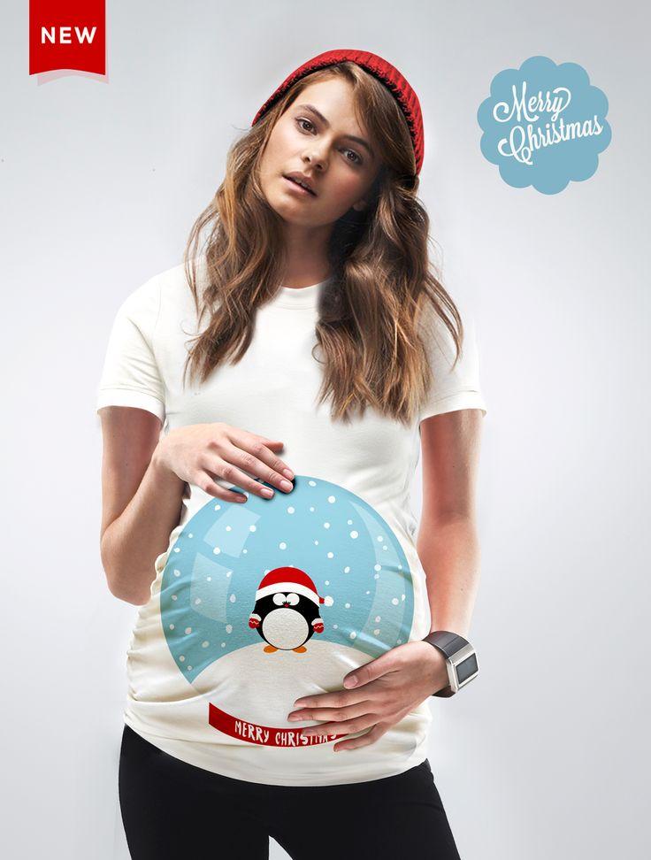Christmas Maternity SnowGlobe Tshirt by Mamagama, 29USD