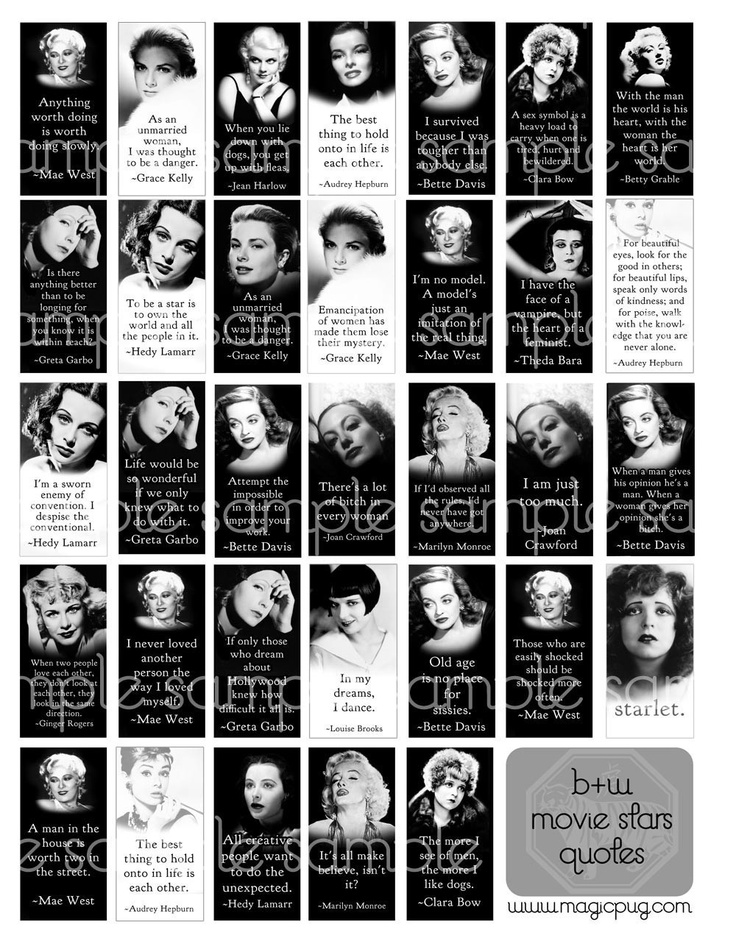 Classic black white movie star quotes domino digital collage sheet from magic pug