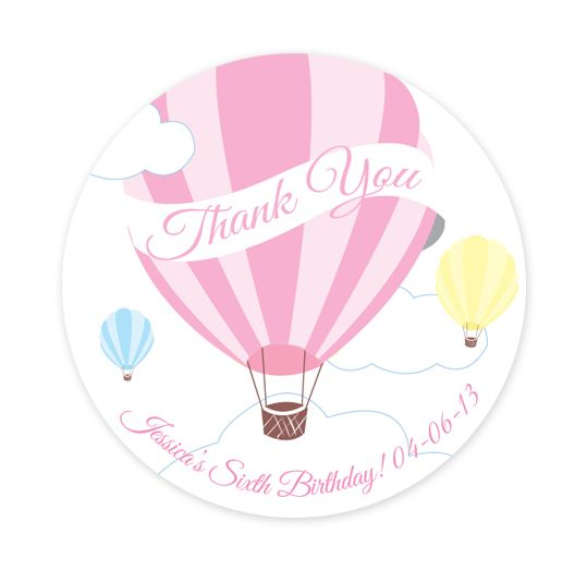 Hot air balloon party stickers personalised balloon large party labels pink frosting party shop