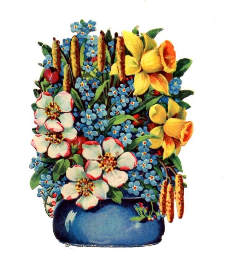 Alte Glanzbilder Oblaten Scraps Blumenvase Frühlingsblumen 12cm ...: