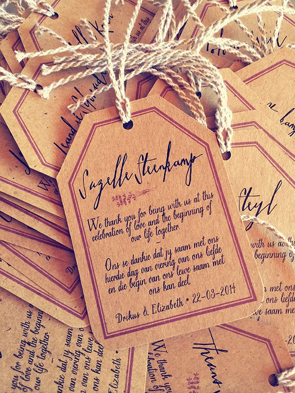 Thank you tags for a beautiful modern rustic wedding held at Durbanville Hills