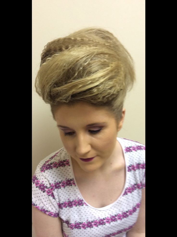 A high half crimped upstyle, funky style for a night out 2015