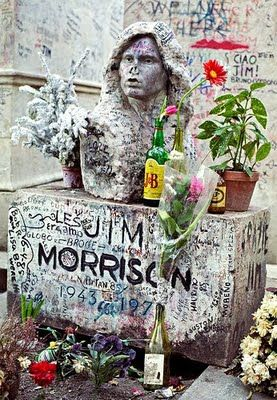 Jim Morrison's grave and those around it are periodically cleaned, but quickly covered in graffiti.