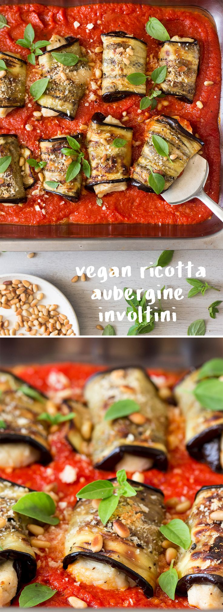 Aubergine involtini with vegan ricotta