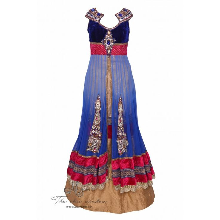 Regal royal blue and golden long shirt with skirt adorn in rich ornate embroidery