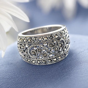 marcasite anad sterling shimmer ring