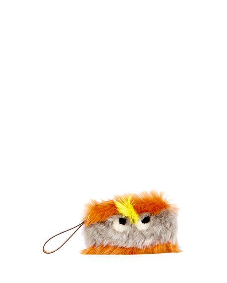ANYA HINDMARCH Furry Eyes Striped Clutch Bag, Orange/Gray. #anyahindmarch #bags #shoulder bags #clutch #fur #hand bags #