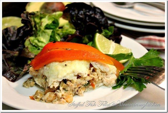 Crab shrimp stuffed fish filete de pescado relleno de for Seafood stuffing for fish