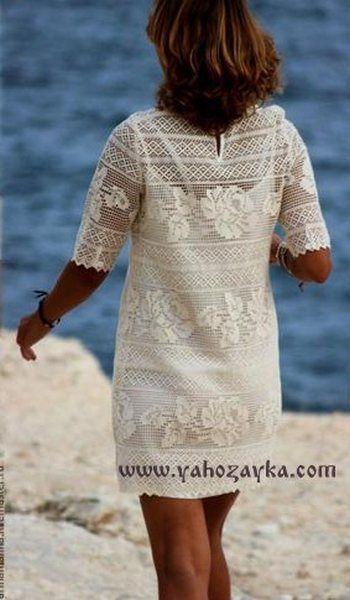 Филейное платье с розами подборка схем. Шикарное платье для пляжаот мастерицы Arina. Воспользуйтесь приложенными схемами и будьте неотразимы на пляже.