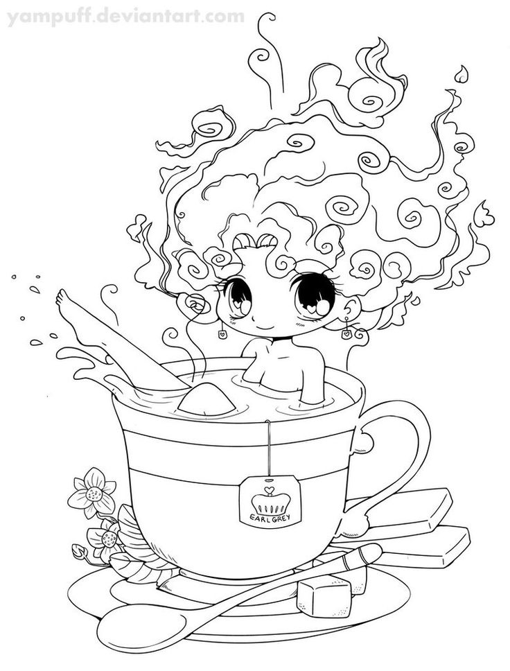 Tea Girl Lineart by *YamPuff on deviantART